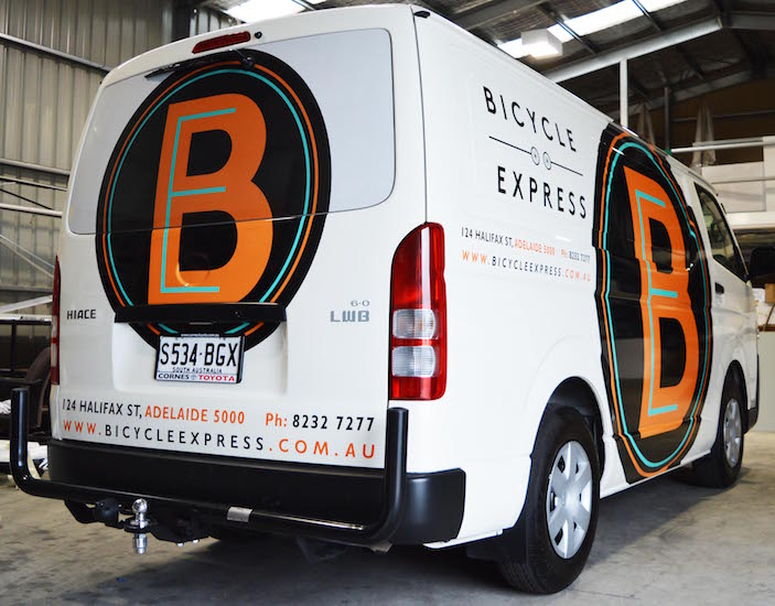 Bicycle express van spot graphics