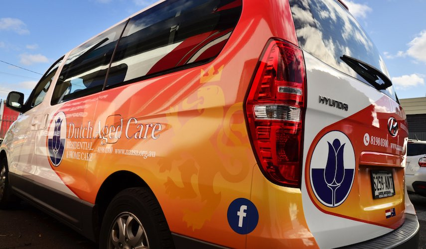 Dutch aged care van wrap